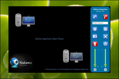 Screenshot of SSuite HyperCam Video Phone. Updated for the latest Desktop, Laptop, and Surface Pro tablets. Contact anyone on any network or hailing frequency in an instant. Completely server-less setup.