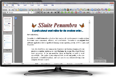 Screenshot of SSuite Penumbra Word Editor. A professional and full featured word editor for the modern writer. Get all you free software application downloads from us. Only trusted free downloads awaits you here at SSuite Office Software. All our great free software apps are updated for the latest Desktop, Laptop, and Surface Pro tablets.